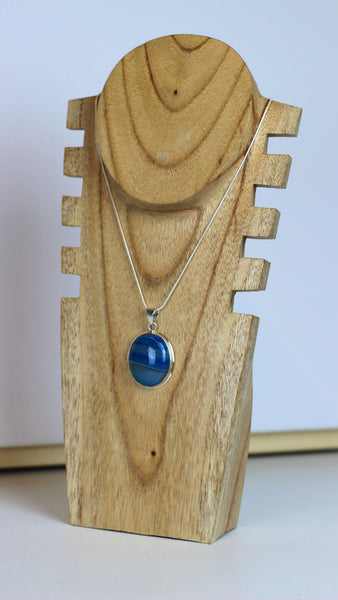 Blue Agate 925 Sterling Silver Pendant