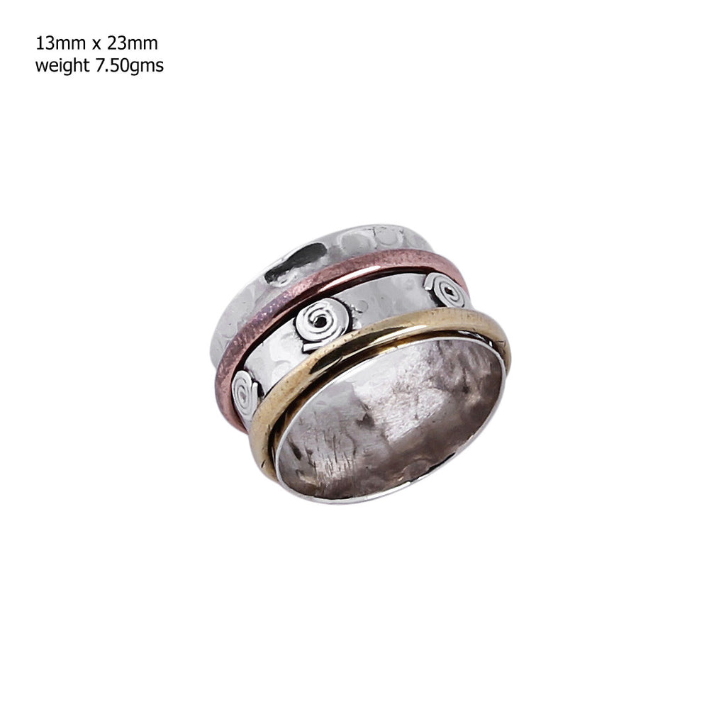 Silver, Copper and Brass Spinner Ring 925 Sterling Silver