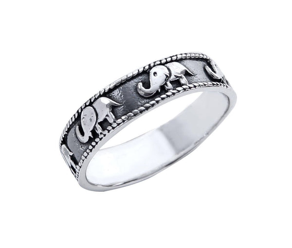 Elephant Band - Sterling Silver Ring