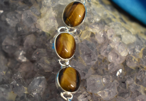 Sterling Silver Tigers Eye Bracelet (925)