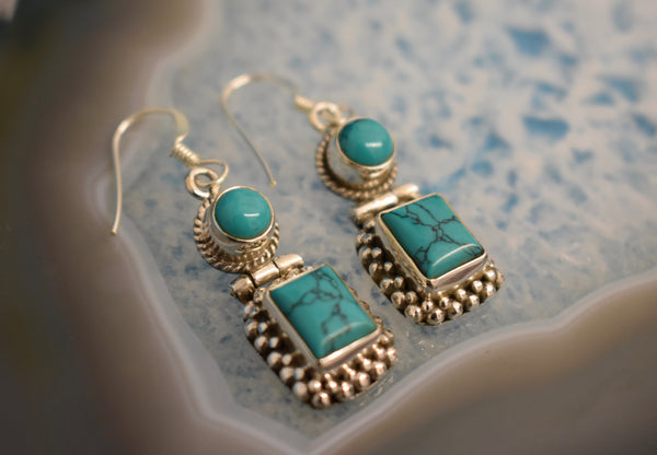 Sterling Silver Double Drop Square Earrings (925)