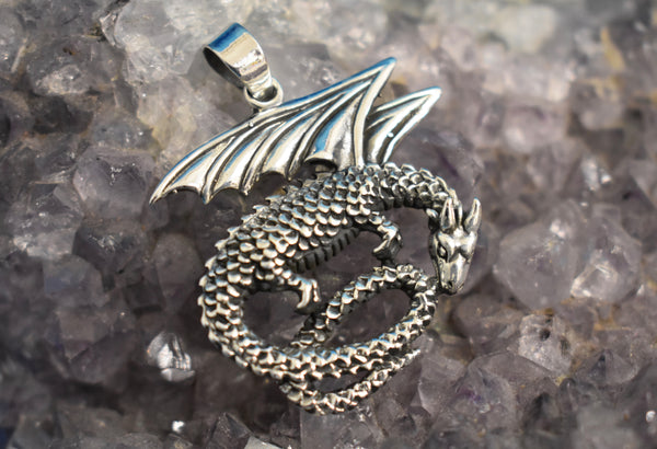Sterling Silver Dragon Pendant (925)