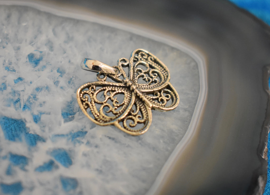 Sterling Silver Butterfly Pendant (925)