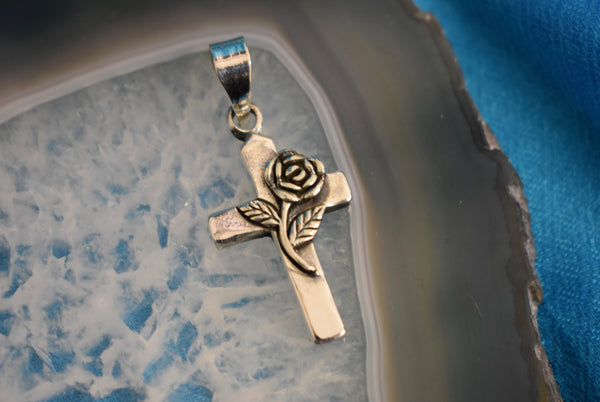 Sterling Silver Rose Cross (925)
