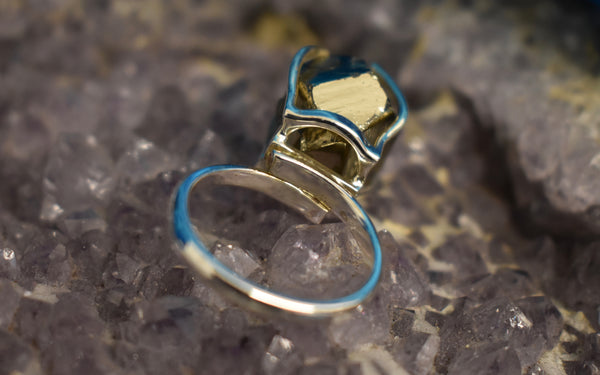 Sterling Silver Pyrite Re-sizable Ring (925)