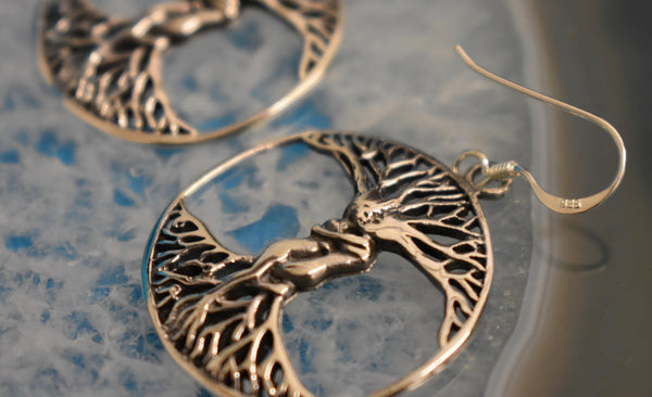 Sterling Silver Tree of life hug Earrings