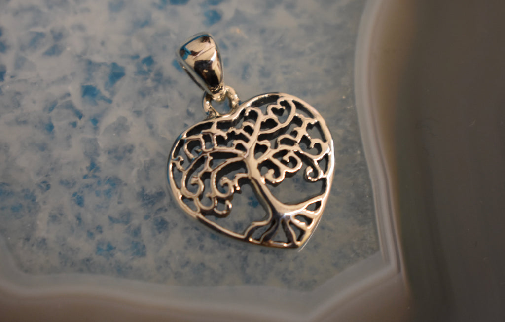 Sterling Silver Tree of life Heart Pendant (925)