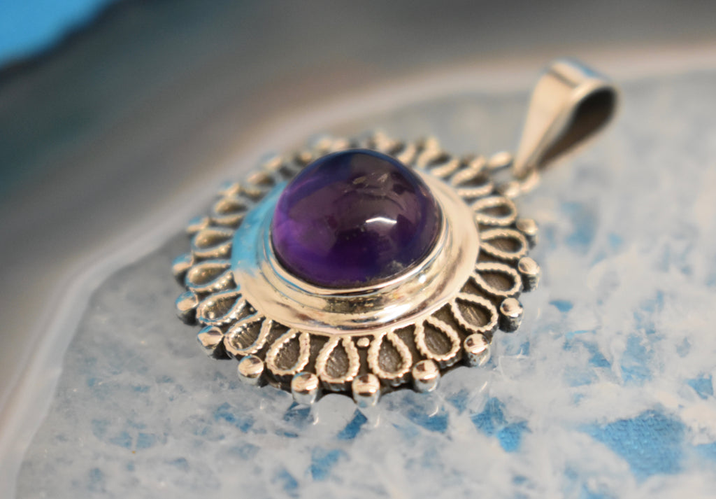 Sterling Silver Amethyst Pendant (925)