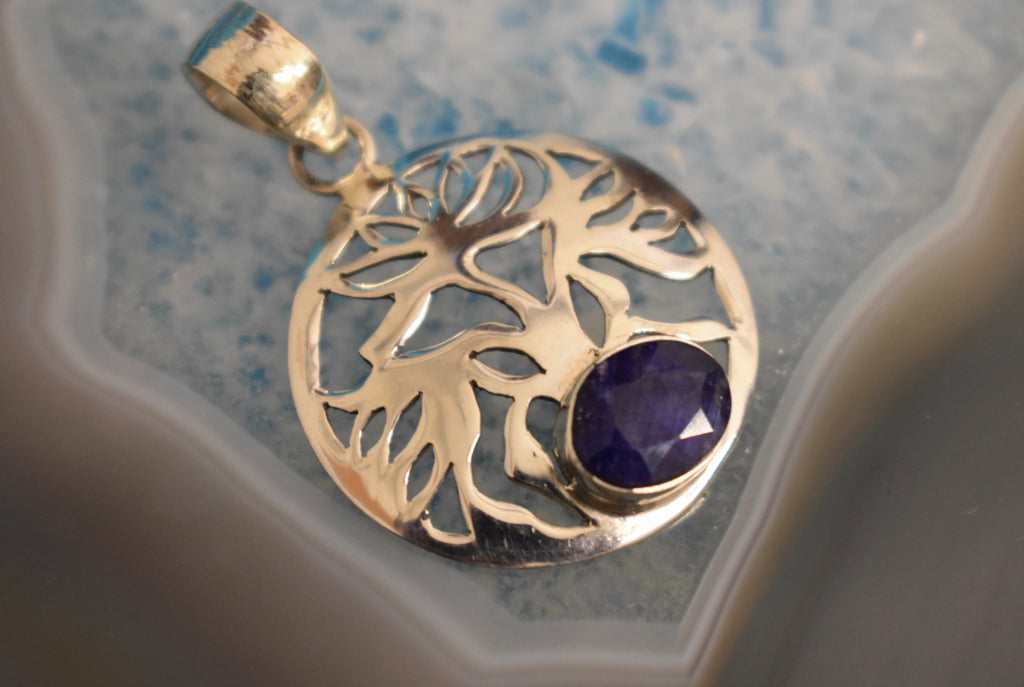 Sterling Silver Sapphire Floral Pendant (925)
