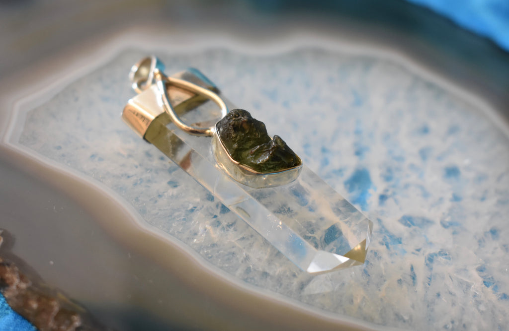 Sterling Silver Quartz and Moldavite Pendant Small (925)