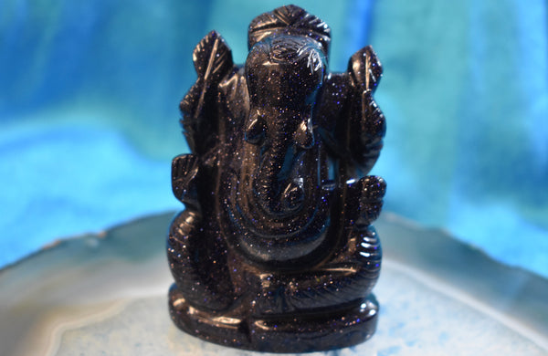 Hand-carved Nightstone (Blue Goldstone)  Ganesha