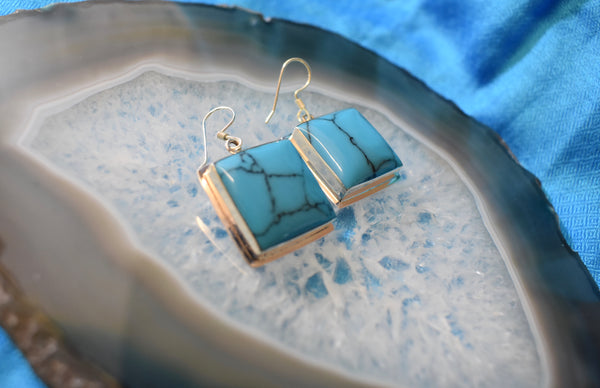 Sterling Silver Turquoise Earrings (925)