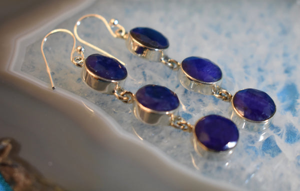 Sterling Sapphire Double Triple Drop Earrings (925)