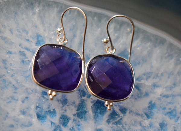 Sterling Silver Square Faceted Amethyst Earrings (925)