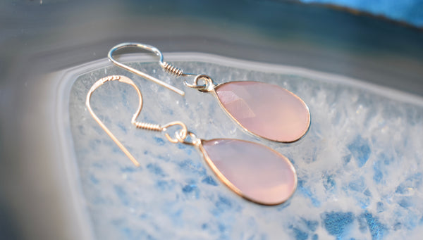Sterling Silver Faceted Rose Quartz Tear Drop Earrings (925)