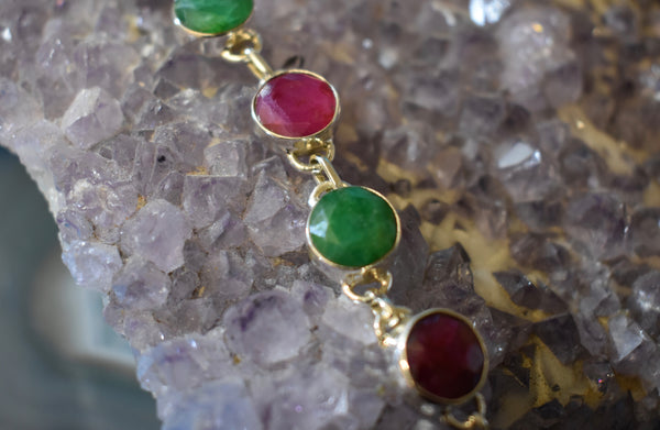 Sterling Silver Emerald and Ruby Bracelet (925)