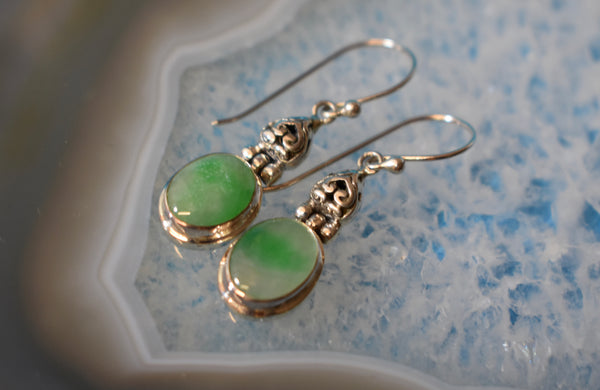 Sterling Silver Jade Earrings (925)