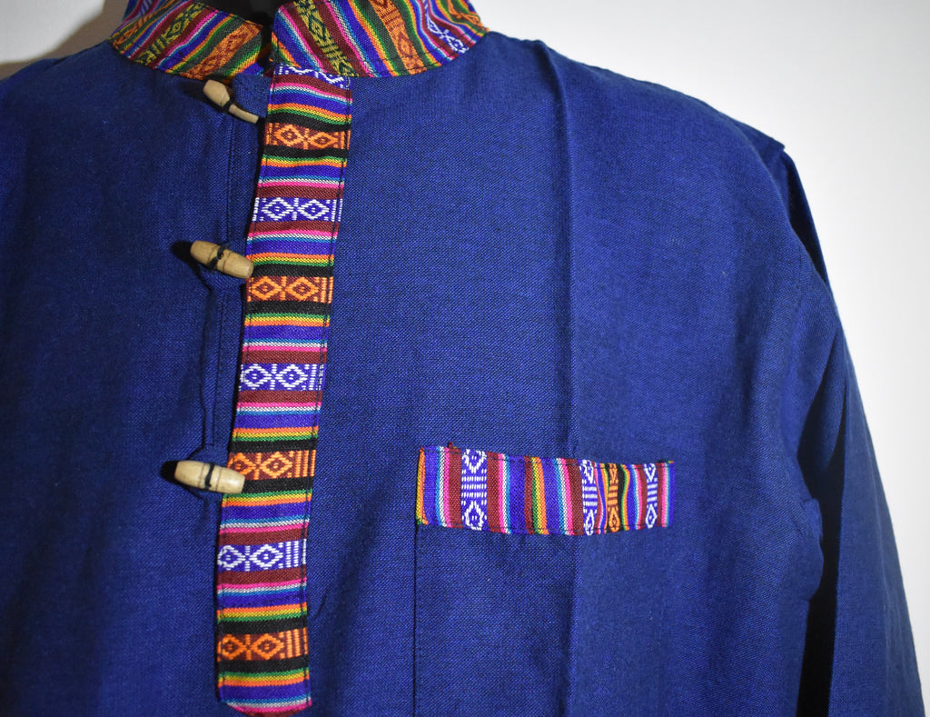Nepalese Long Sleeve Coloured Collar