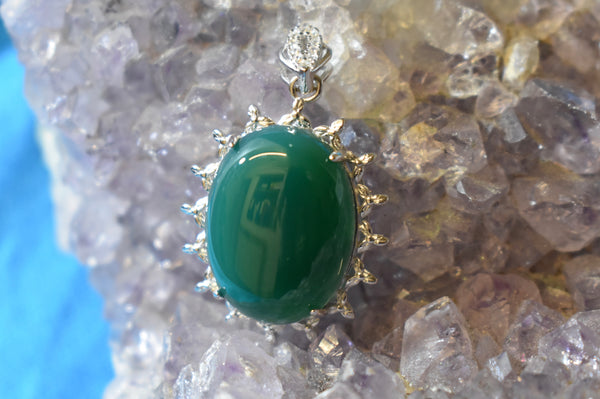 Sterling Silver Green Onyx Pendant (925)