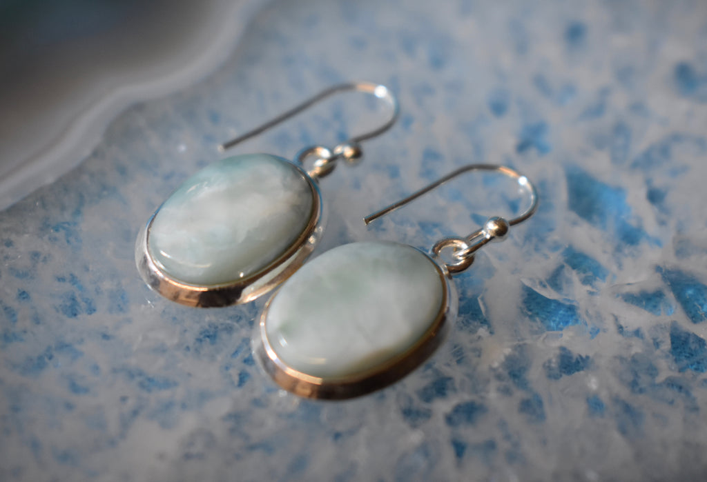 Sterling Silver Larimar Earrings (925)