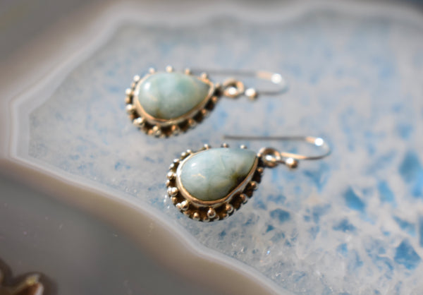 Sterling Silver Larimar Small Tear Drop Earrings (925)