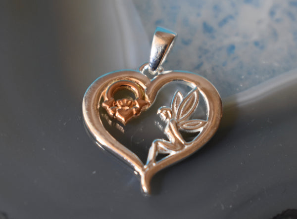 Sterling Silver Brass and Silver Heart