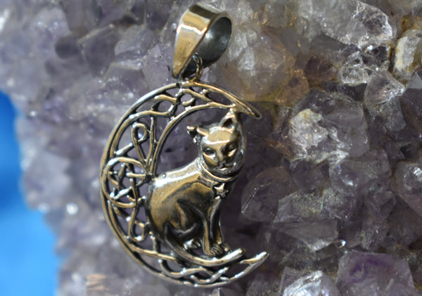 Sterling Silver Cat on Moon