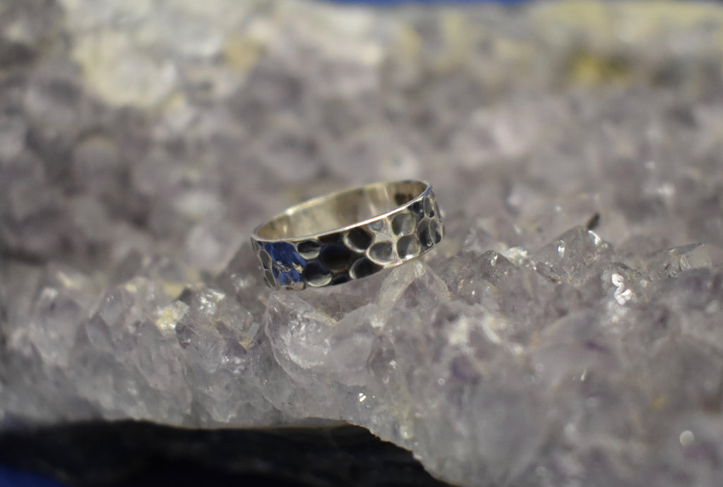 Hammered and Dotted Band Ring