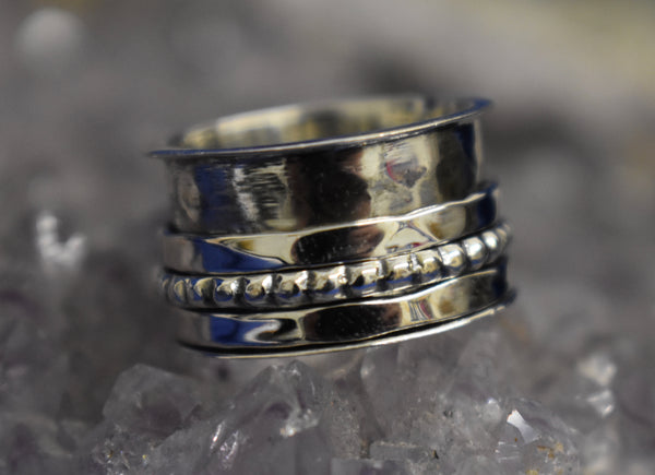 Thick Dotted and Hammered Spinner Ring