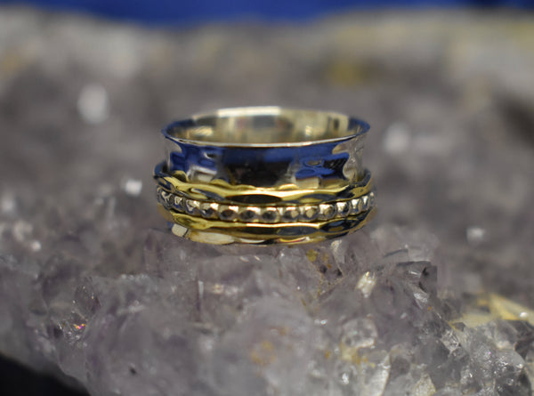 Thick Two Tone Spinner Ring (925)