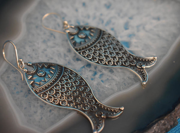 Sterling Silver Fish Tail Earrings (925)