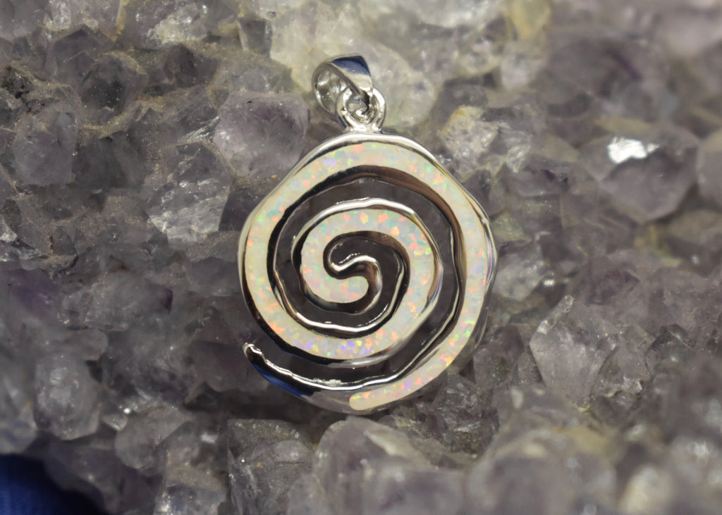 White Cultured Opal Pendant Swirl