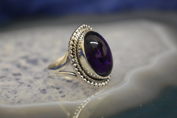 Double Trim Amethyst Ring