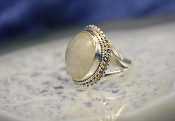 Modern Detailed Moonstone Ring