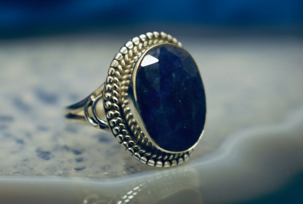 Detailed Sapphire Ring