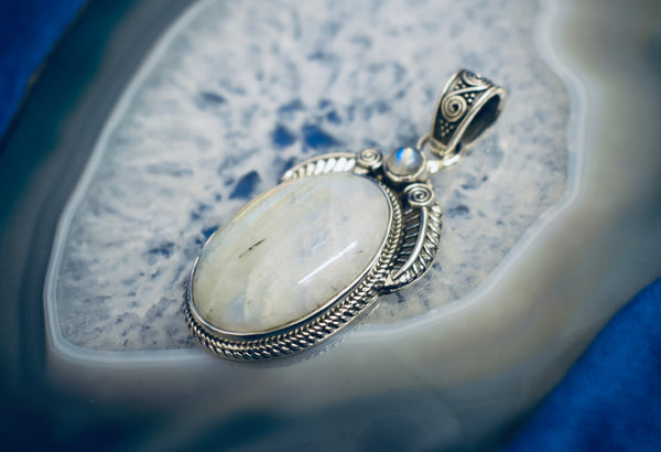 Detailed Rainbow Moonstone Pendant