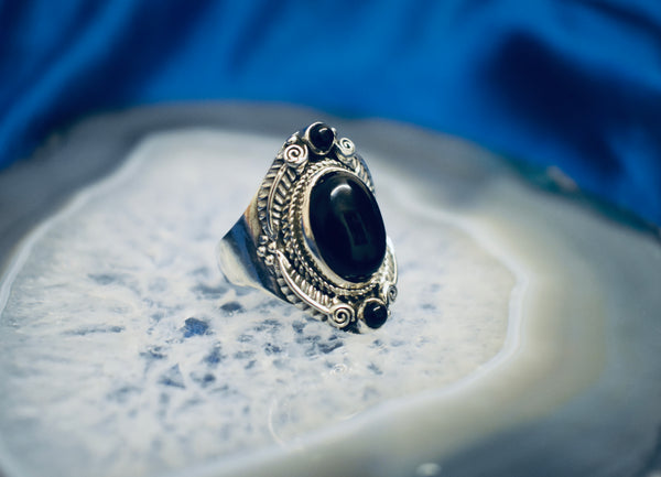 Detailed Onyx Ring