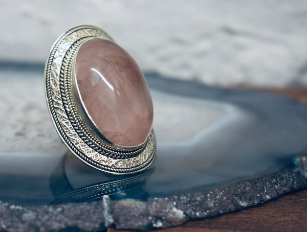 Vintage Rose Quartz Ring
