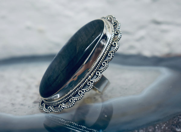 Long Vintage Labradorite Ring