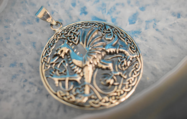 Sterling Silver Welsh Dragon Pendant (925)