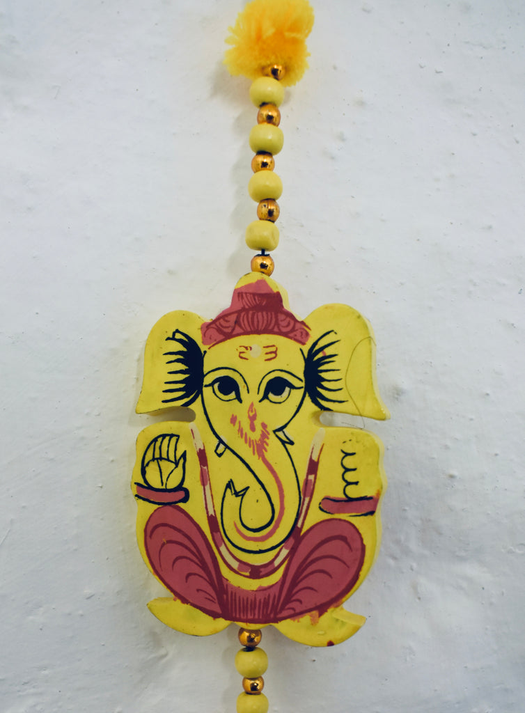 Yellow Wooden Elephant Hanging