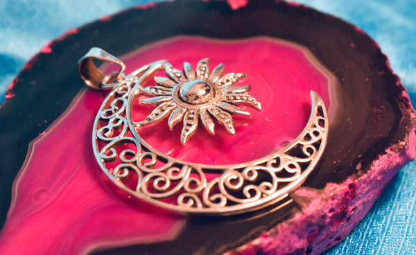 Large Moon and Sun Pendant(925)