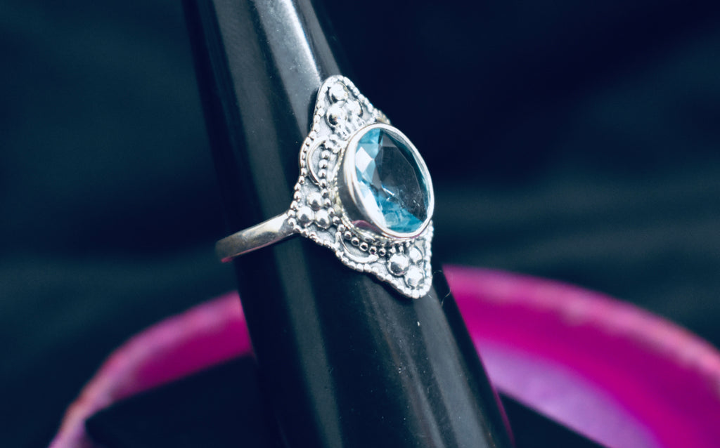 Detailed Blue Topaz Ring