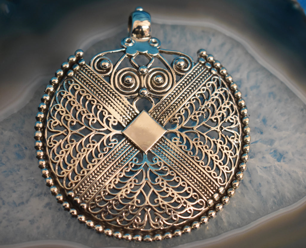 Sterling Silver Large Medallion Pendant (925)
