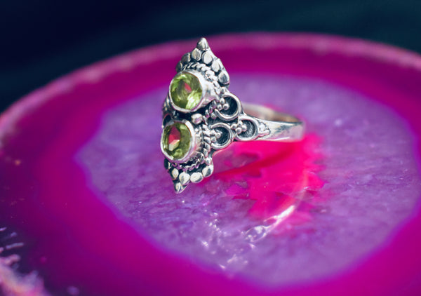 Double Peridot Ring