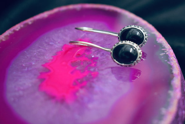 Onyx Fixed Latch Earrings