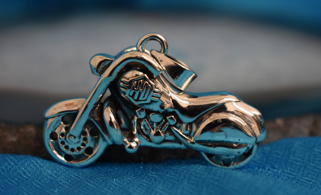 Sterling Silver HD Chopper Motorbike Pendant (925)