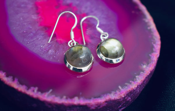 Plain Circle Labradorite Earrings