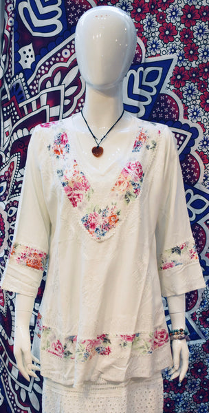 Colourful White Blouse Shirt