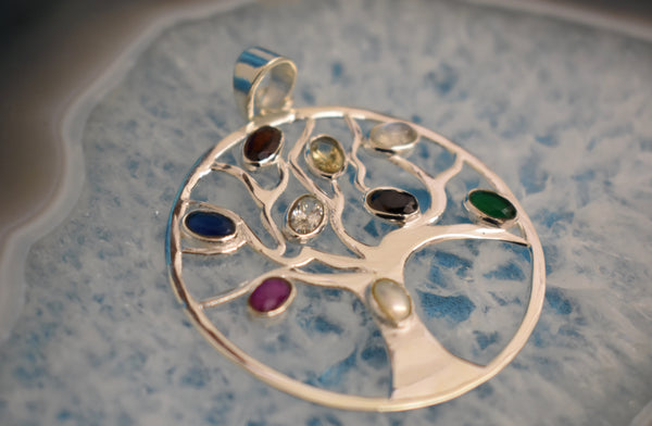 Sterling Silver Multi-chakra Tree of Life Pendant (925)